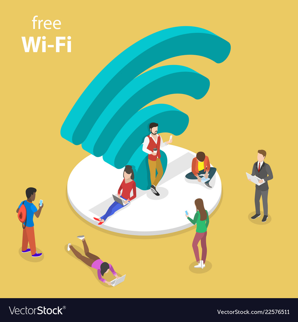 Isometric flat concept of free wifi
