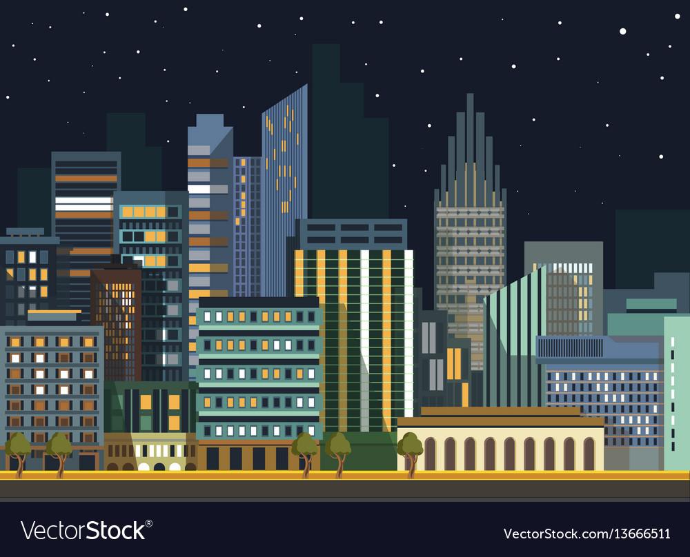 Modern urban city landscape flat night