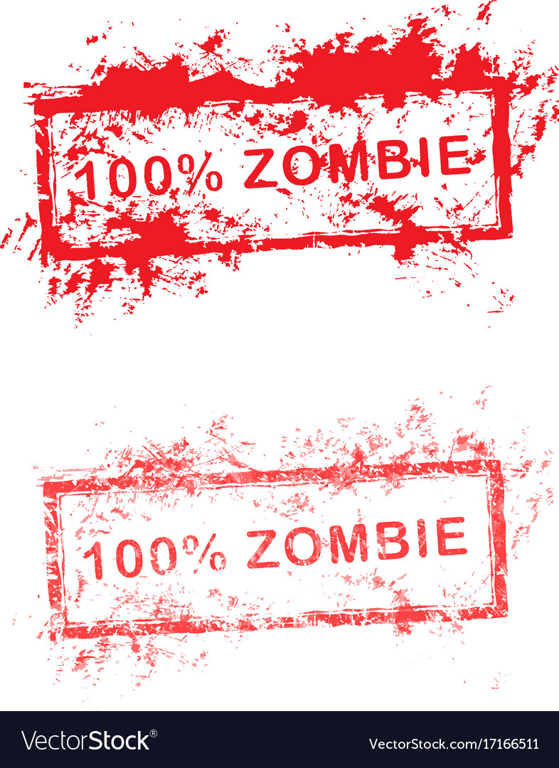 Red grunge rubber stamp 100 zombie used for