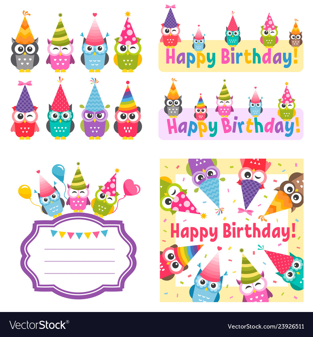 Set of owls and birthday party elements