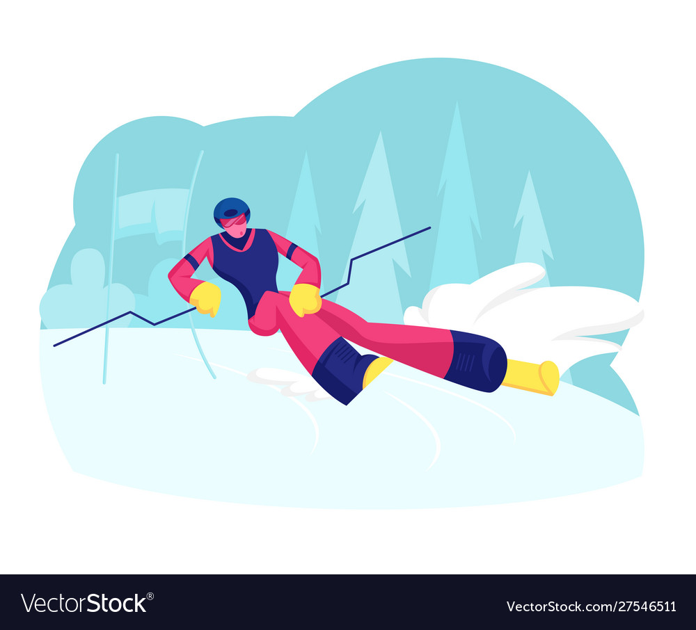 Ski slalom winter sports young man wearing