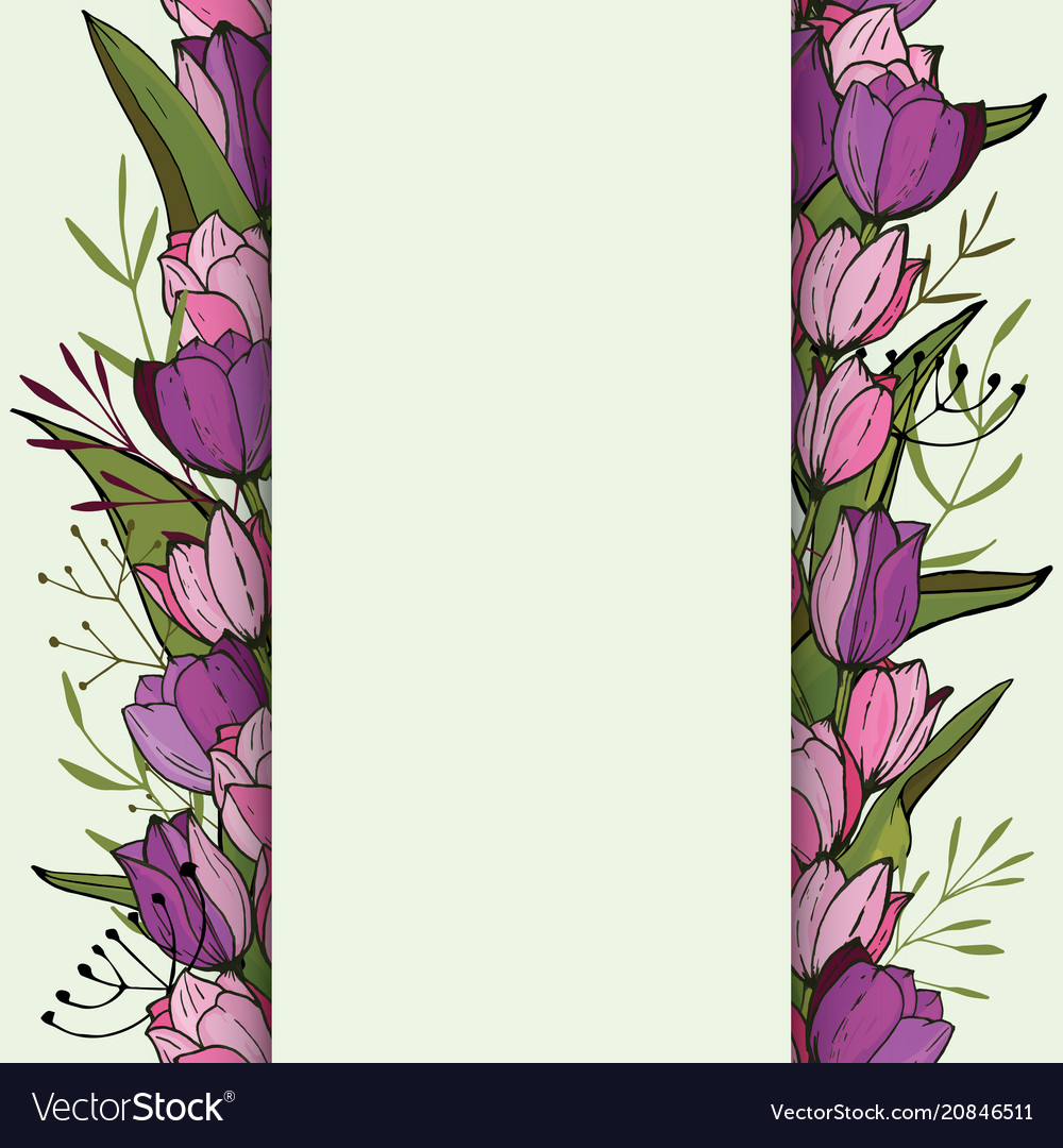 Square frame with tulips and herbs on white