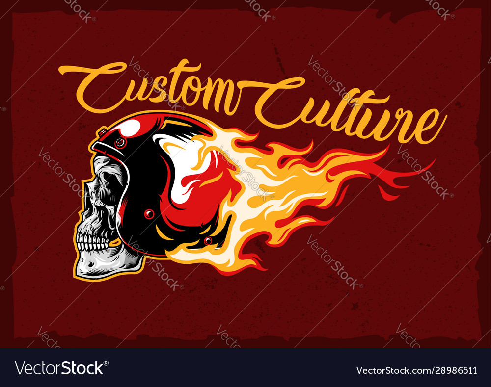 Stock burning skull helmet emblem
