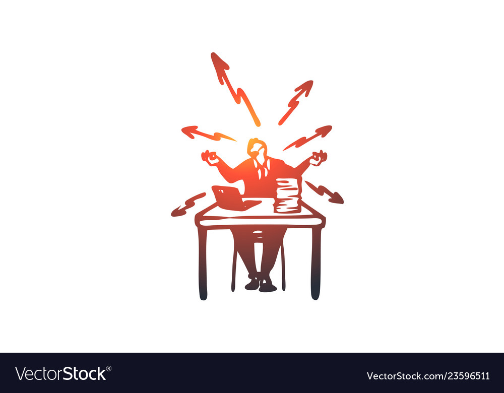 Stress work problems office busy concept hand