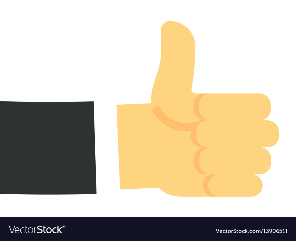 Thumb up hand gesture in flat design
