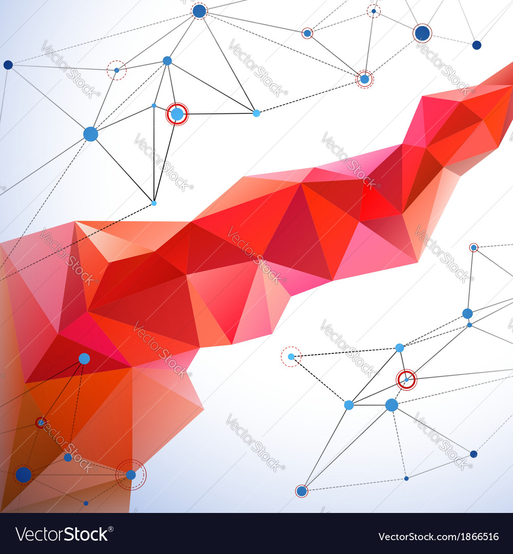 Abstract geometric mosaic line with connection vector image