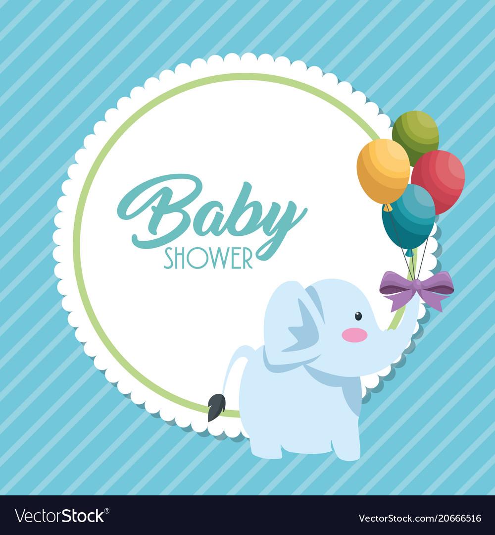 398e45a0f Baby shower card with cute elephant