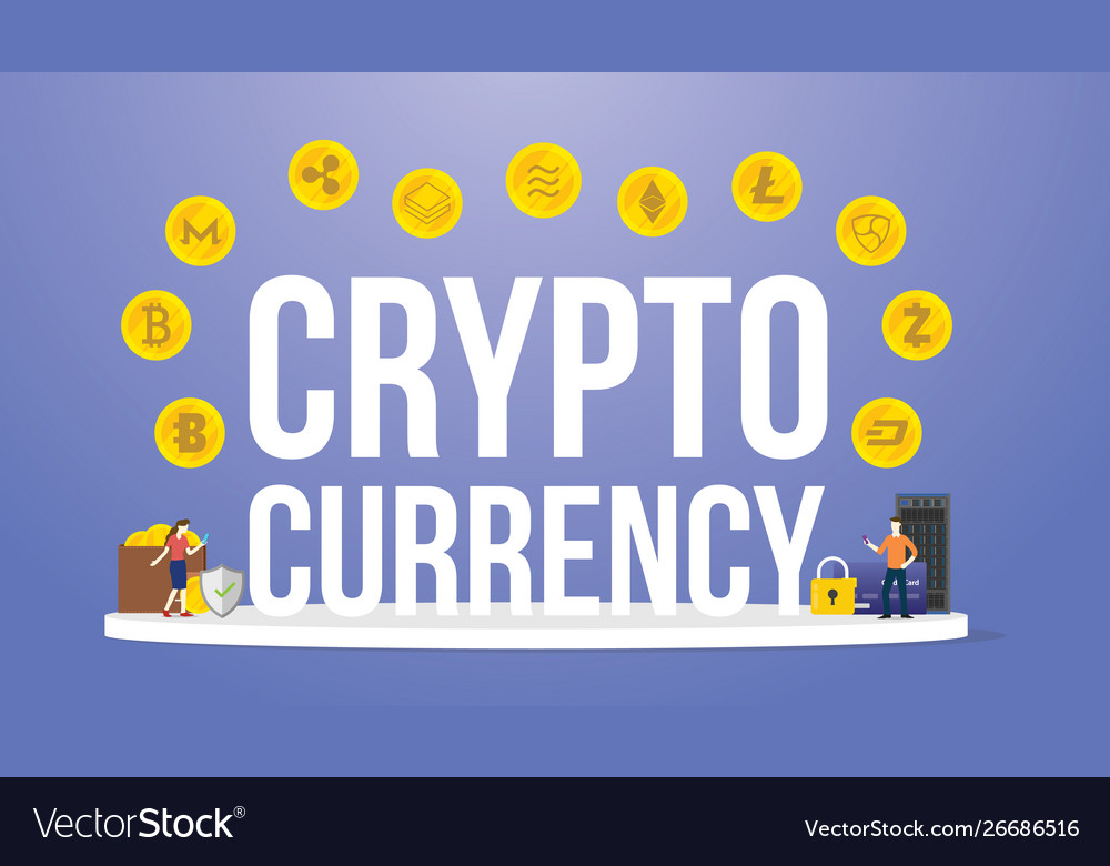 Crypto currency big words with various options of