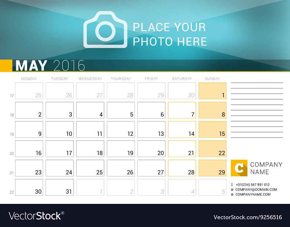 desk calendar for 2016 year may design print vector image