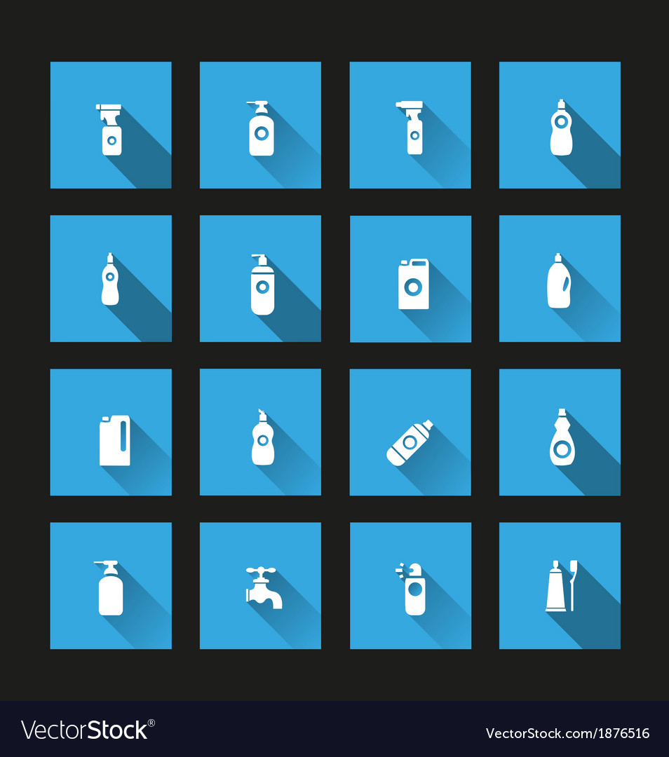 Detergent bottle icon set long Shadow vector image