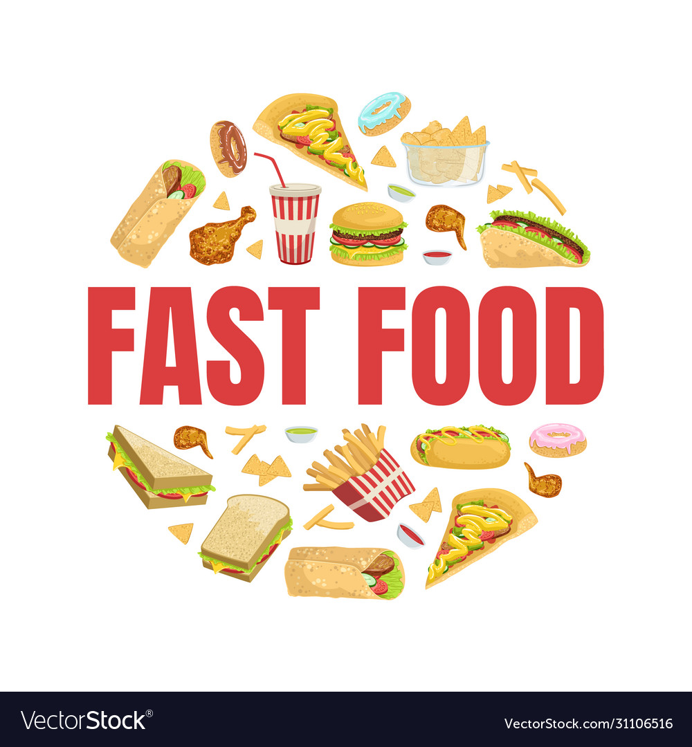 Fast food banner template with tasty unhealthy