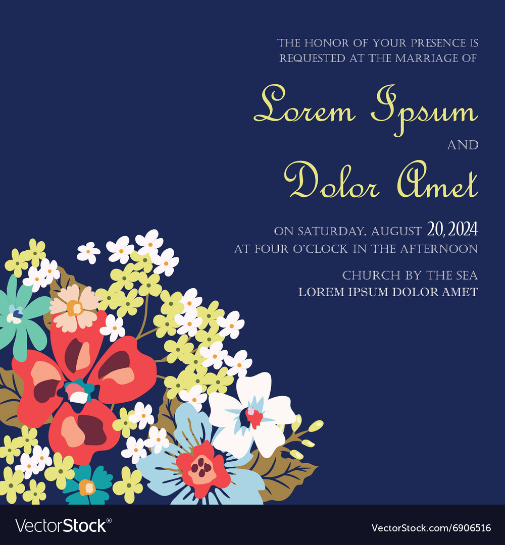Invitation with flowers vector image