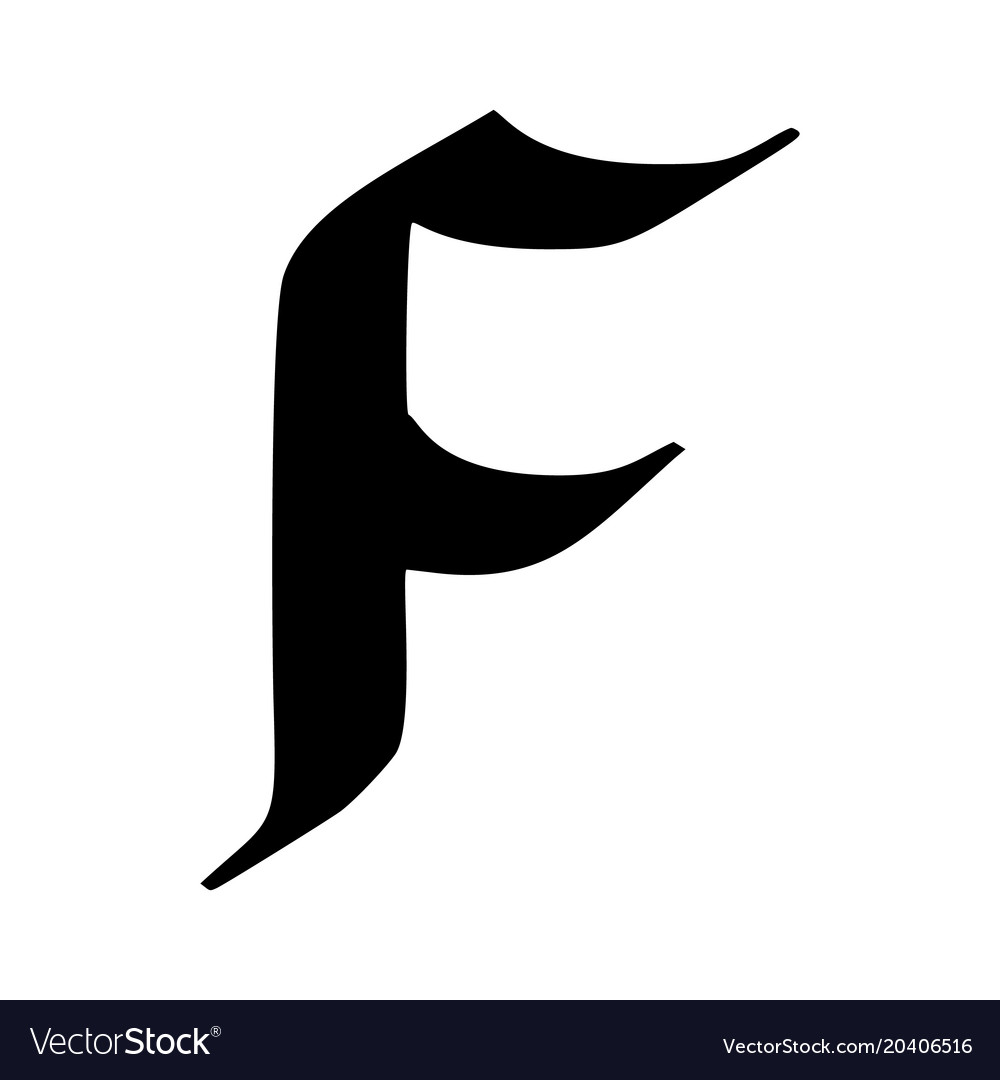 Letter f painted brush