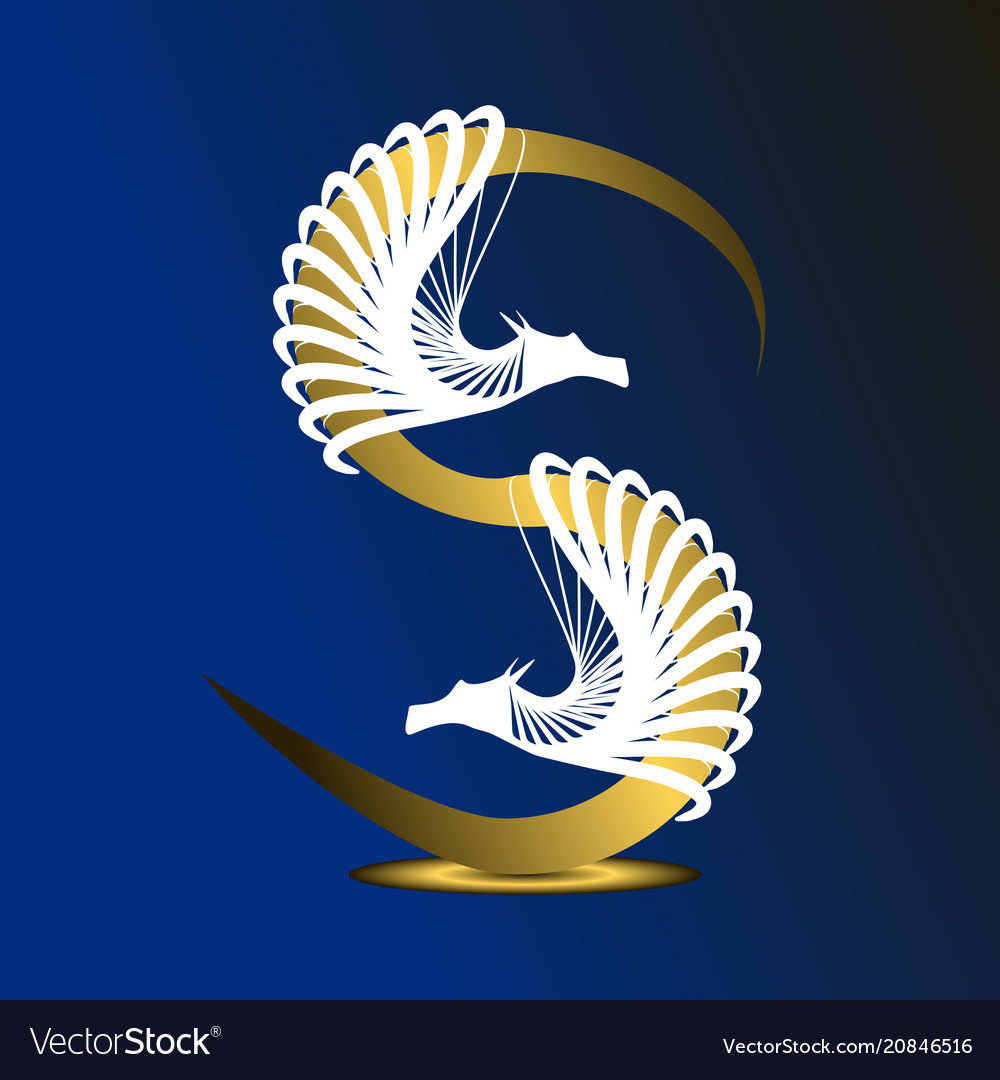 Letter s is golden on a dark blue background