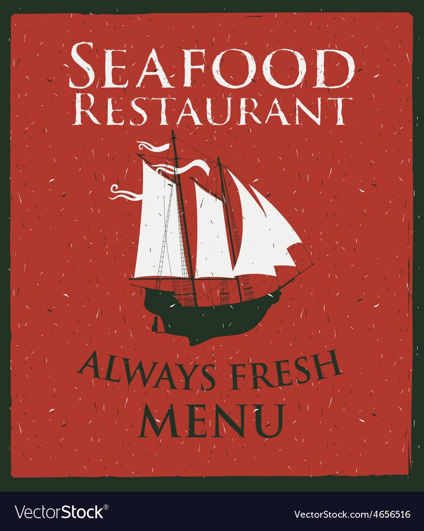 Seafood ship vector image