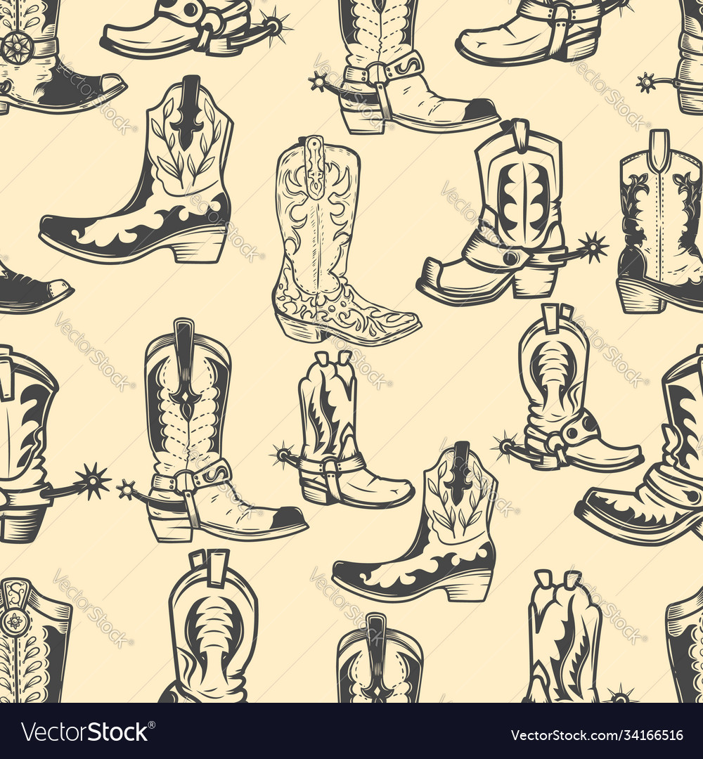 Seamless pattern with cowboy boots design element