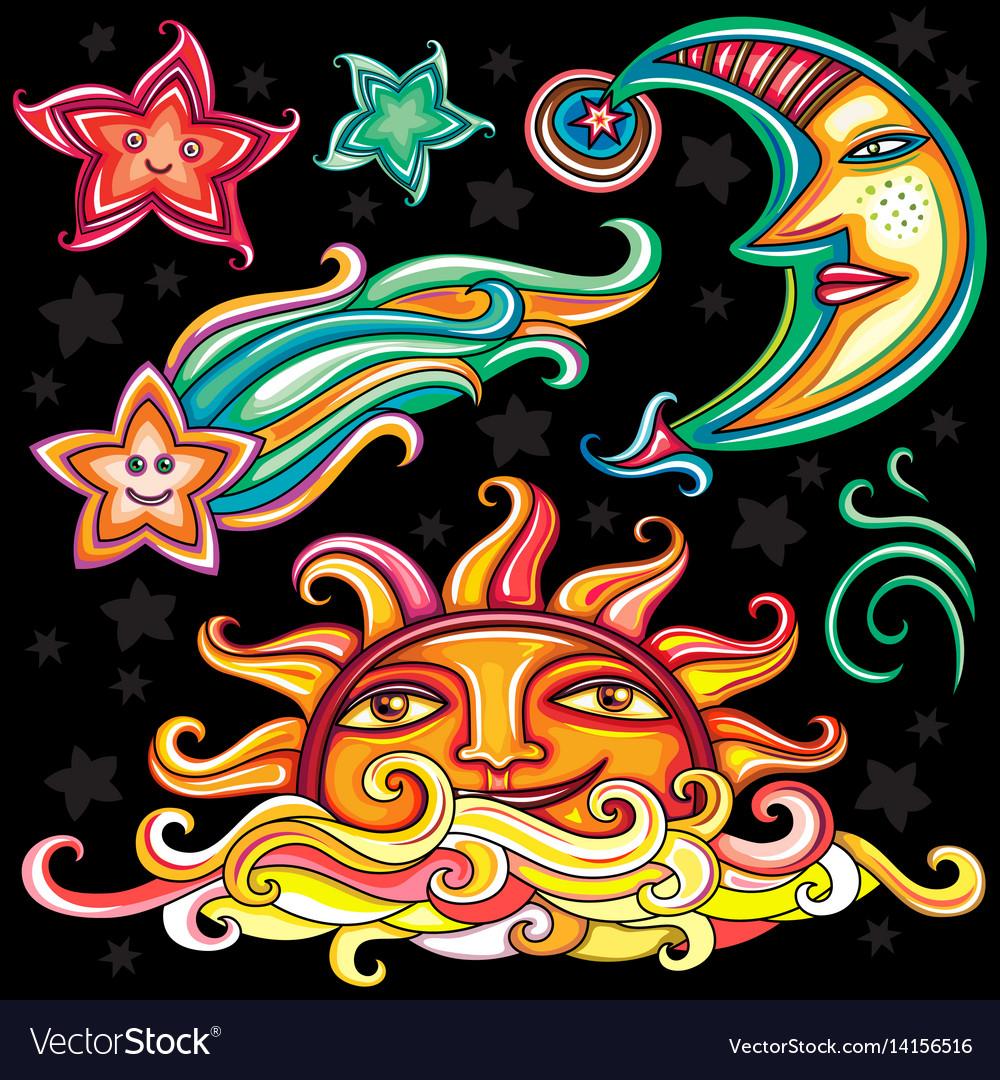 Set of celestial symbols