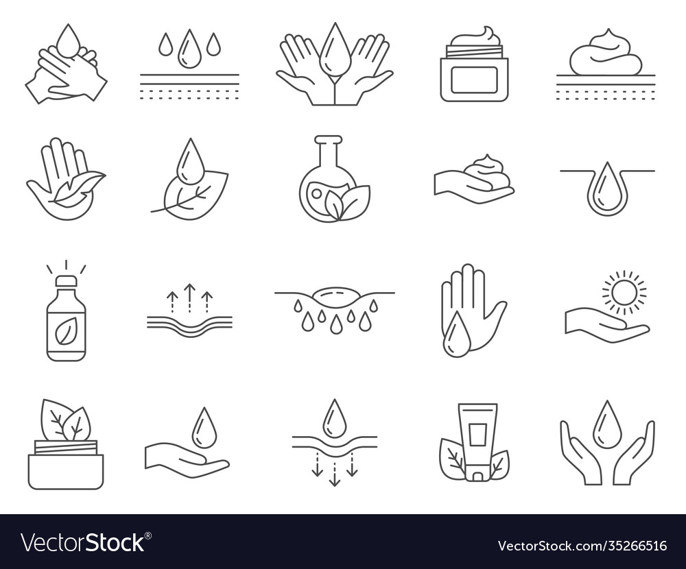 Skin care icons outline anti age lifting cream vector