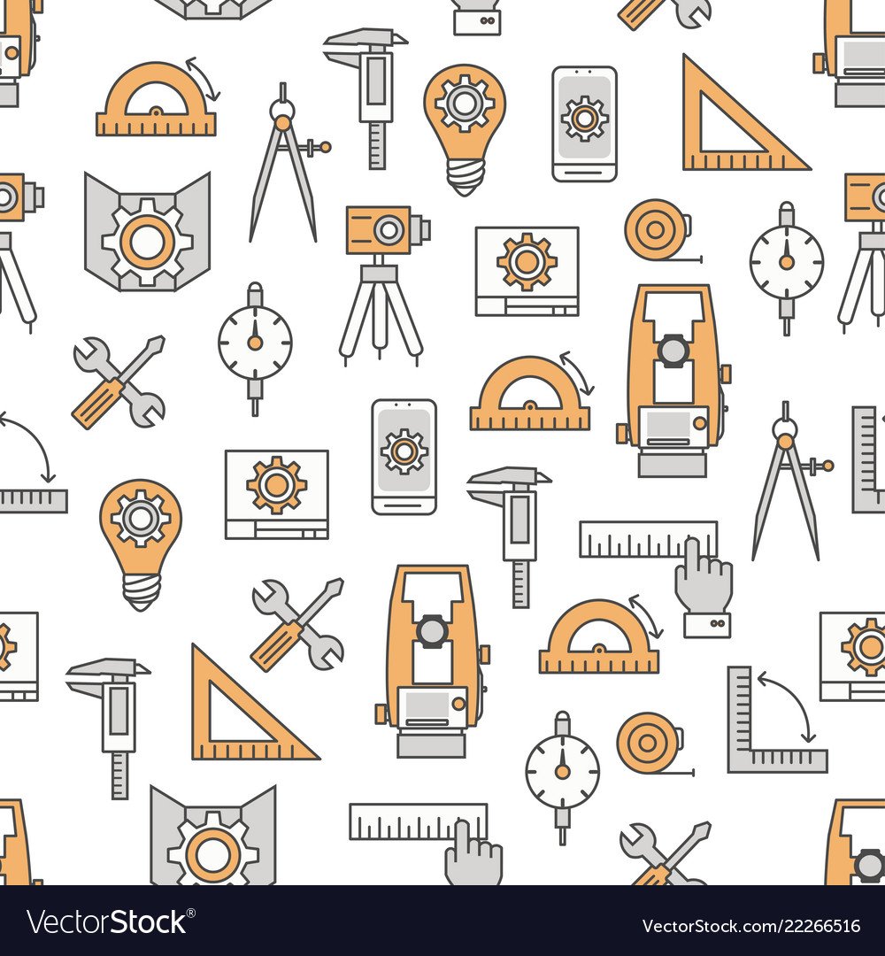 Thin line art engineer seamless pattern
