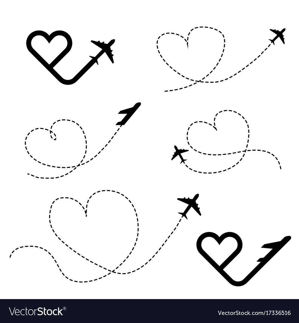 Travel Love In Heart Black Icon Set Royalty Free Vector