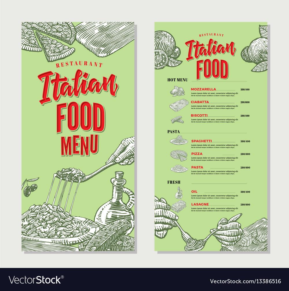 Vintage italian food restaurant menu template