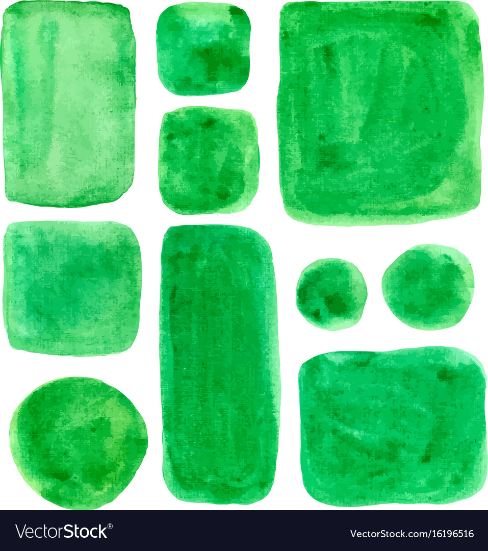 Watercolor spots isolated green design elements