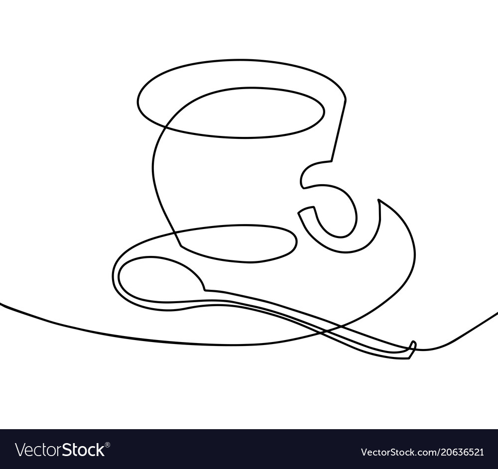 Continuous one line drawing - a cup of coffee with