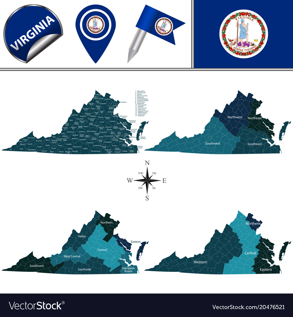 Map of virginia with regions