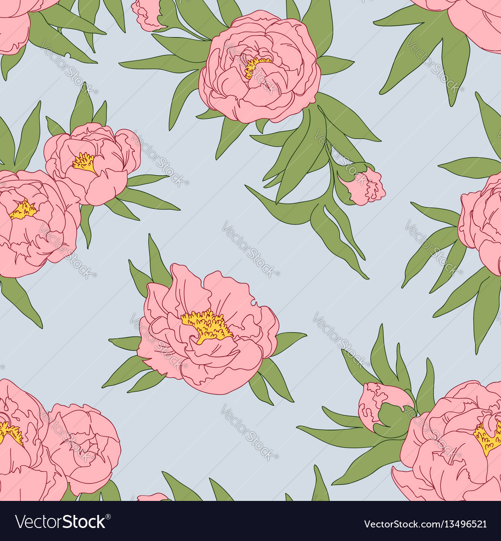 Peony flowers and leaves