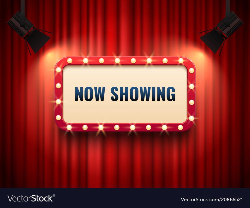 Retro cinema or theater frame illuminated by