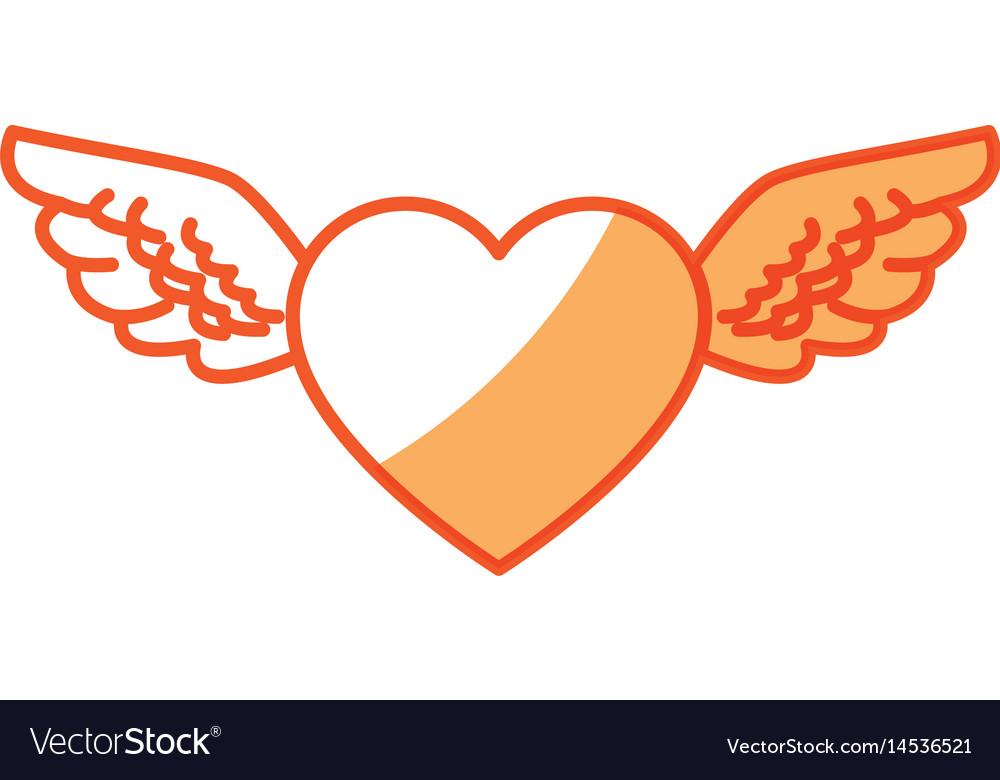 Romantic heart wings cute decoration