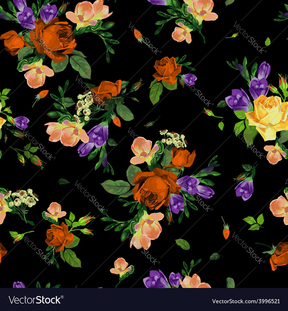 Seamless floral pattern with roses and freesia vector image