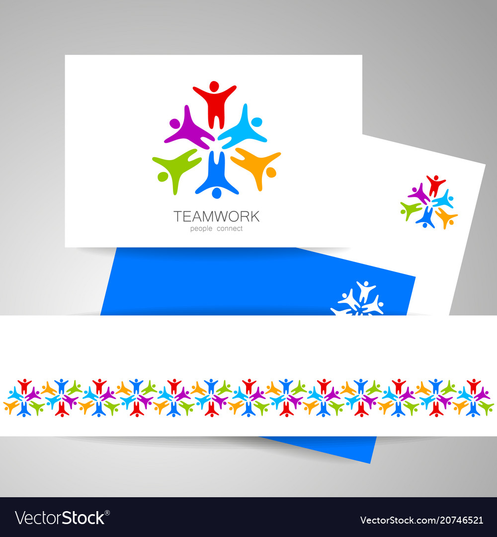 Teamwork people connect design template