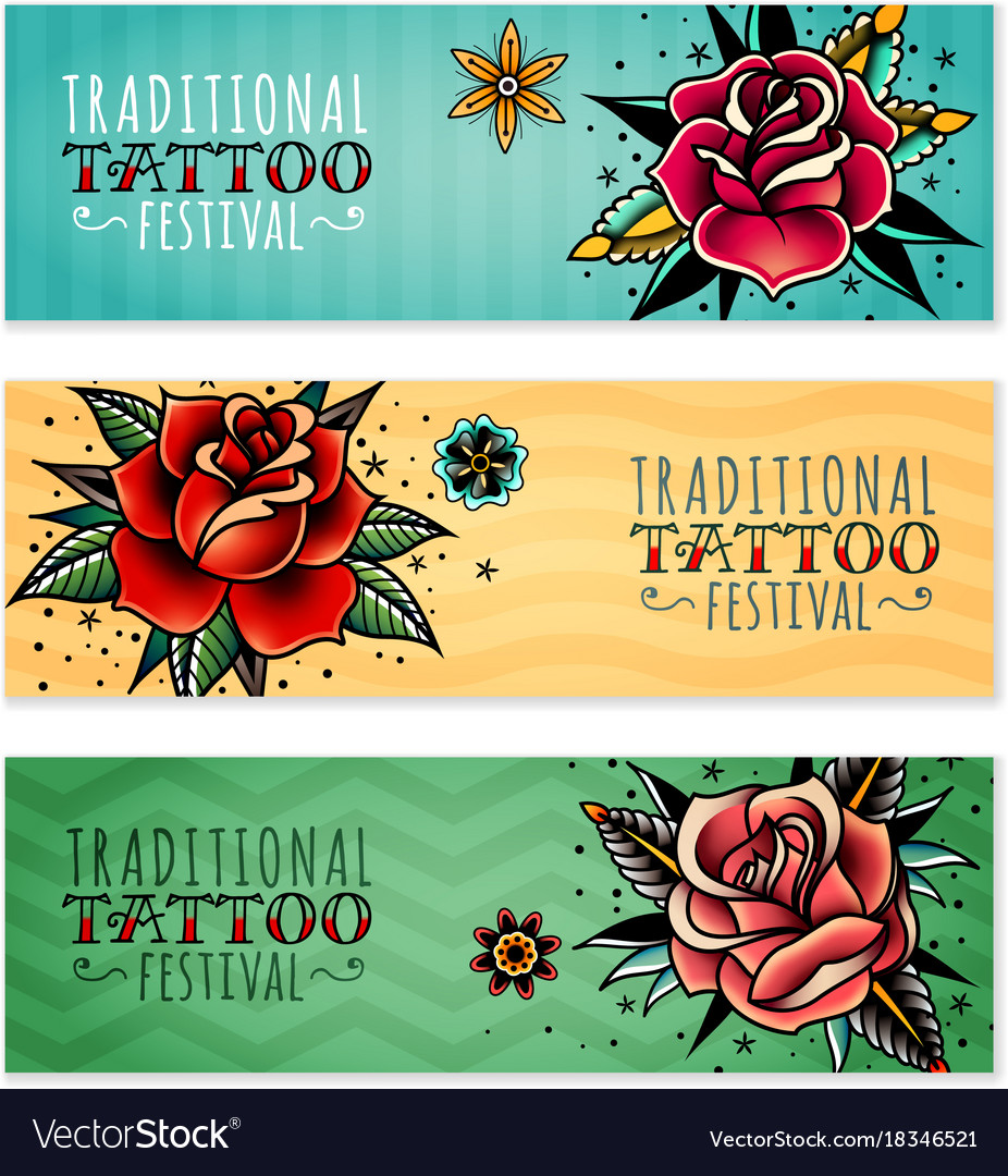 Traditional tattoo roses horizontal banners