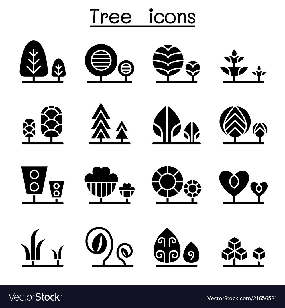 Tree plant icon set