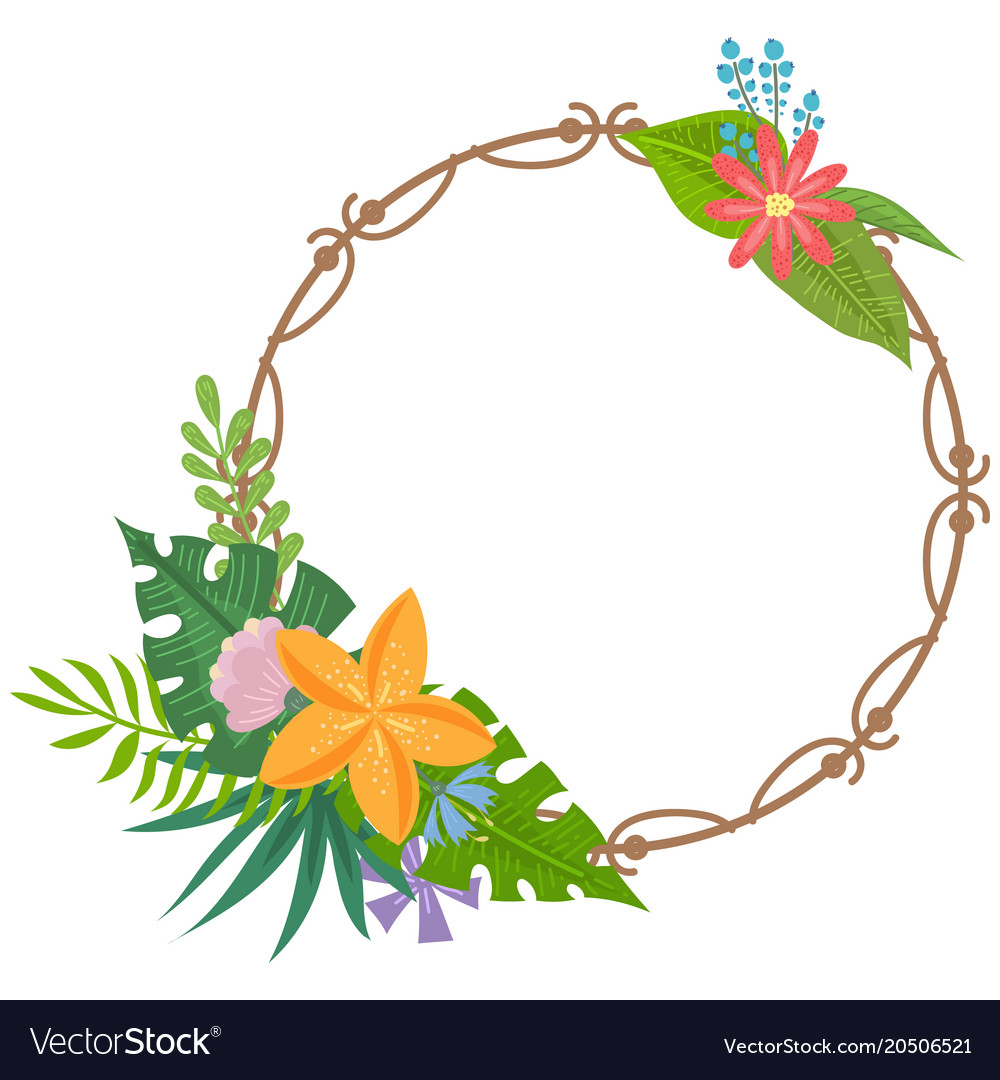 Tropical flowers frames Royalty Free Vector Image
