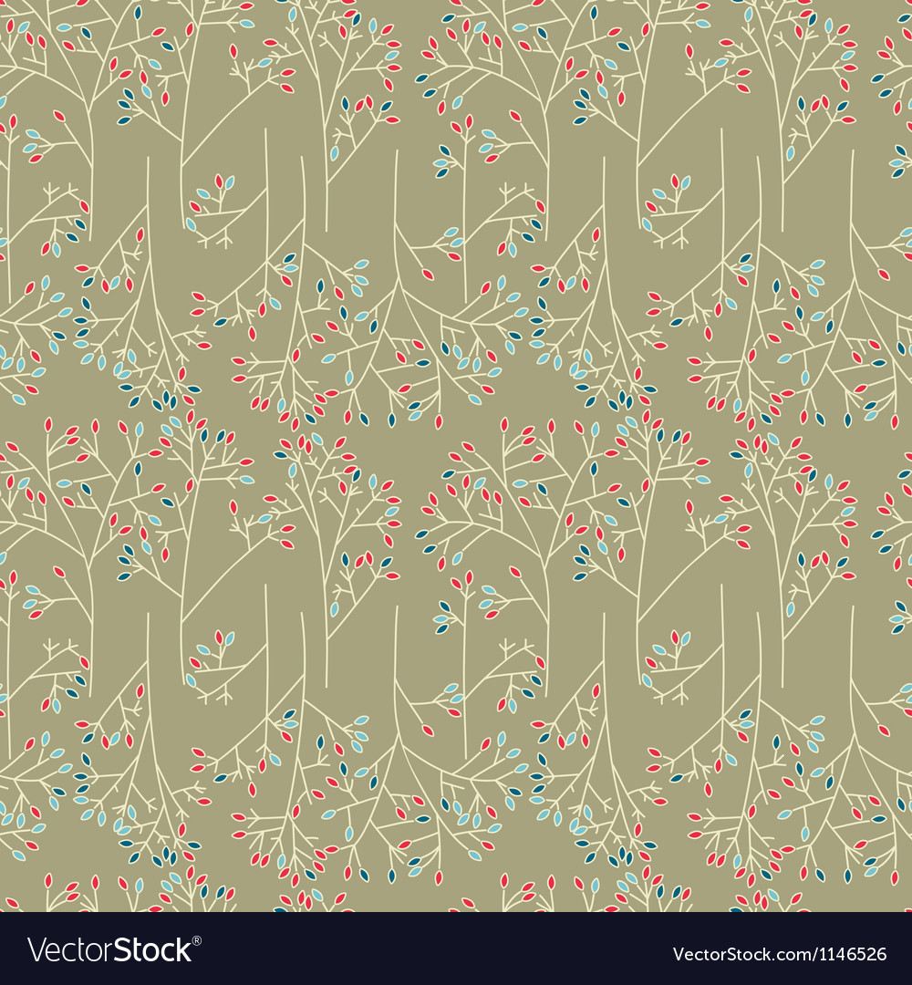 Abstract trees seamless pattern background vector image