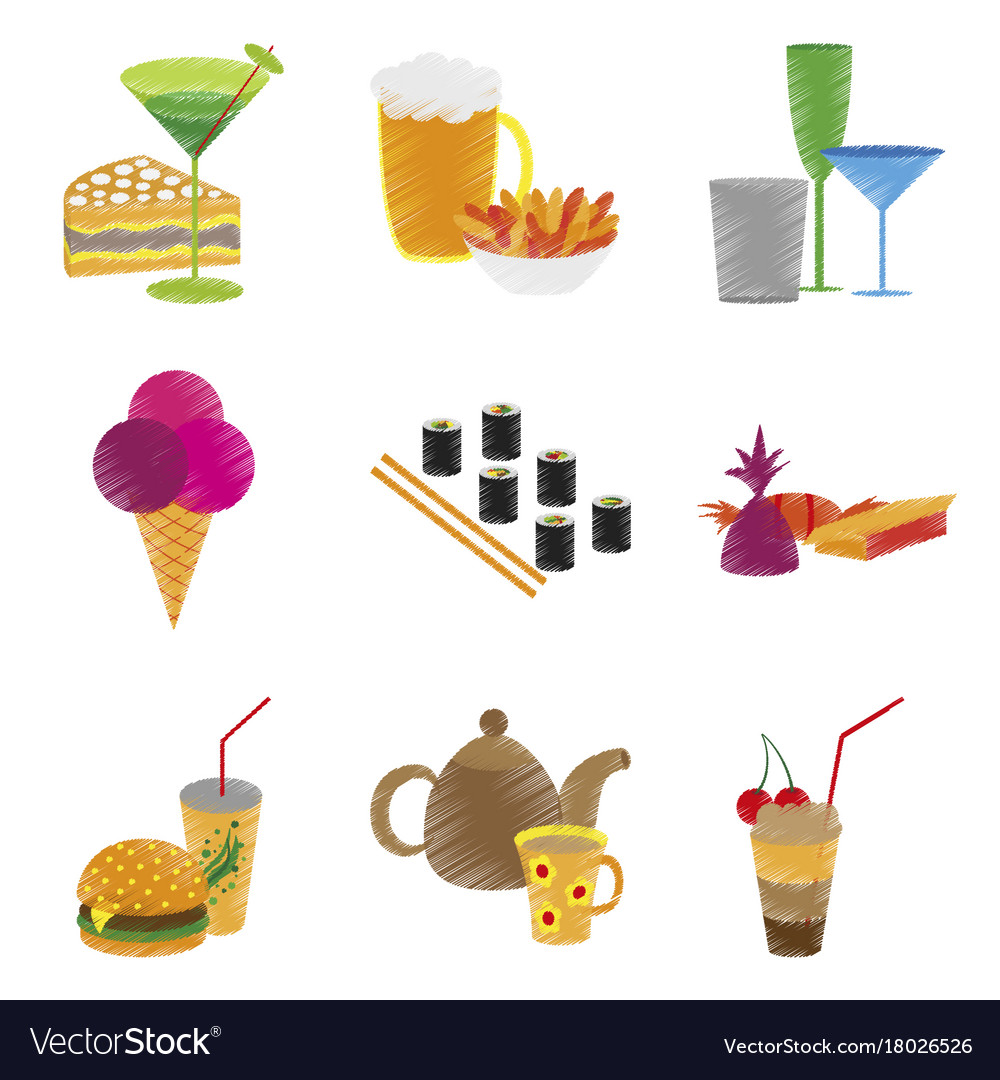 Assembly flat shading style icons food