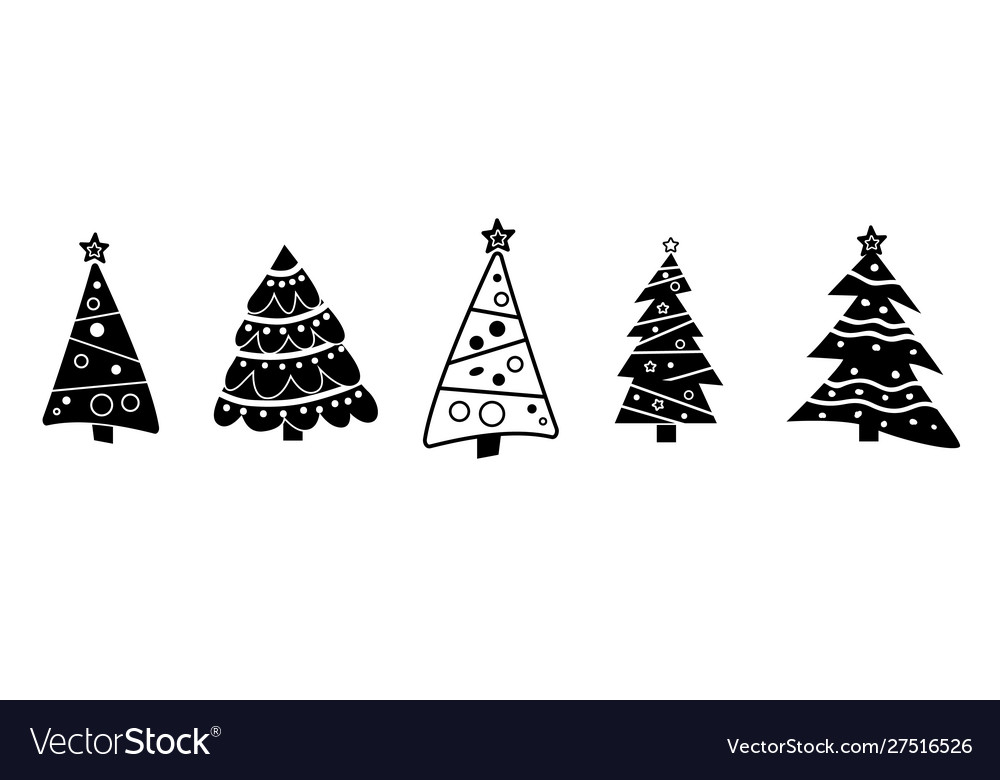 Black and white collection christmas tree