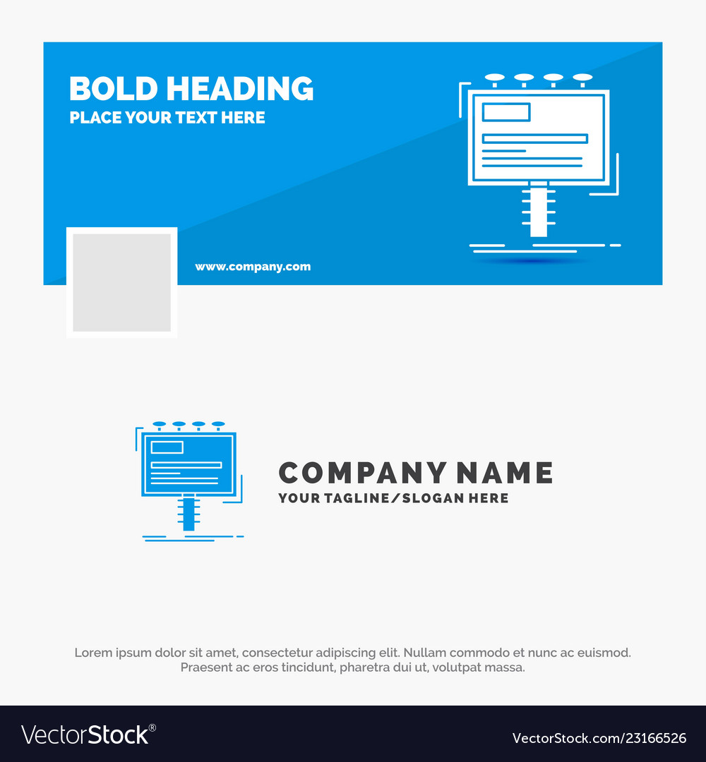 Blue business logo template for ad advertisement
