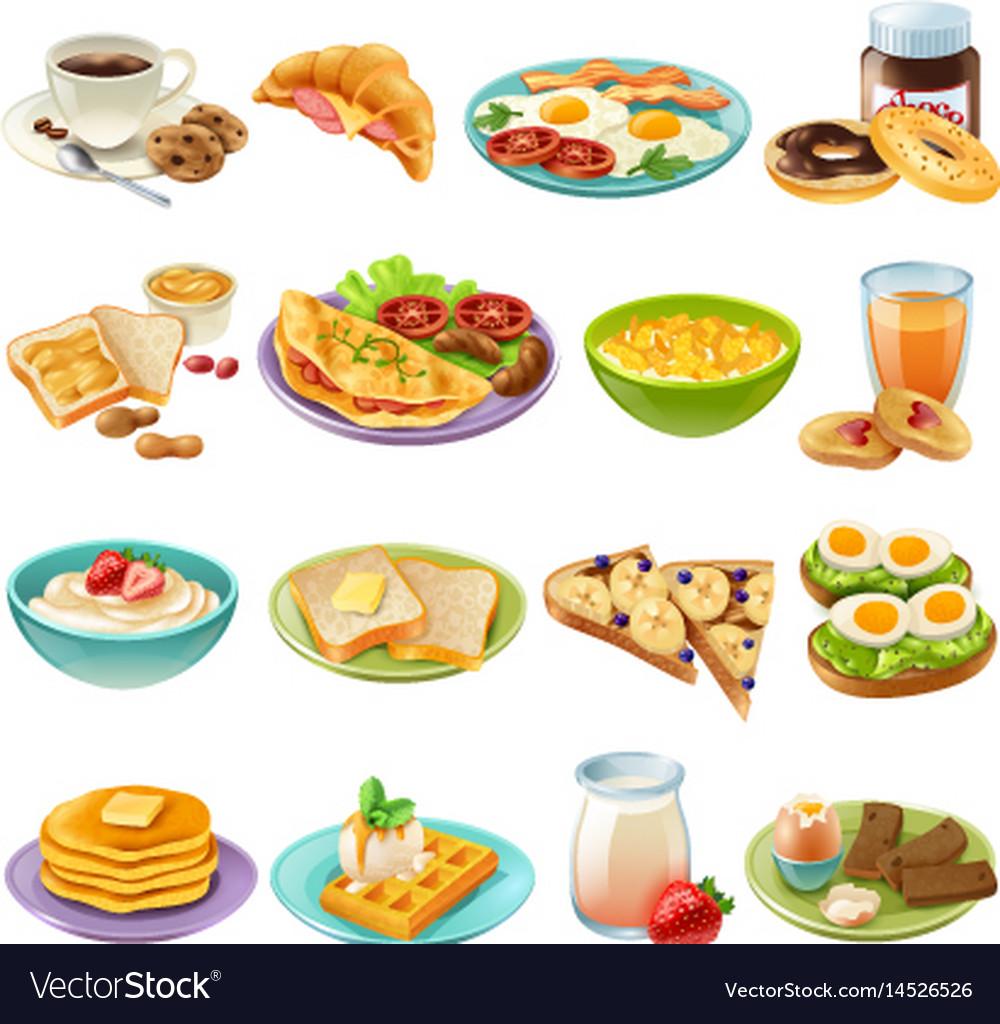 Breakfast brunch menu food icons set