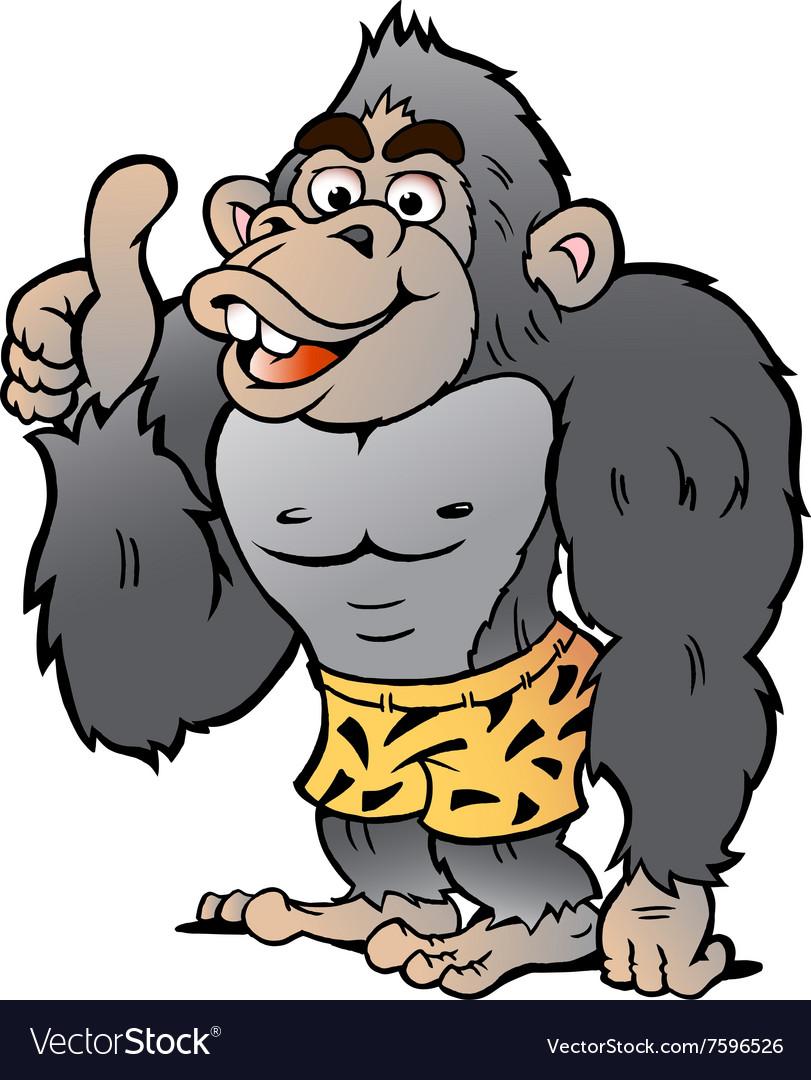 Cartoon of a Strong Gorilla giving Thumb Up vector image