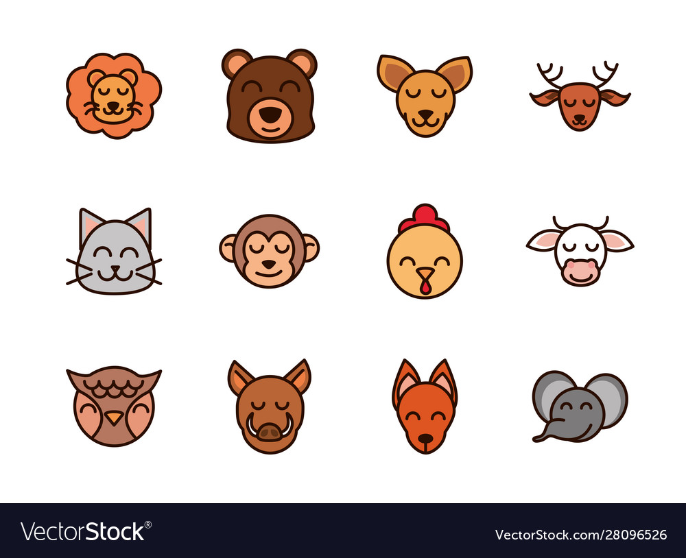 Cute face animals cartoon icons set