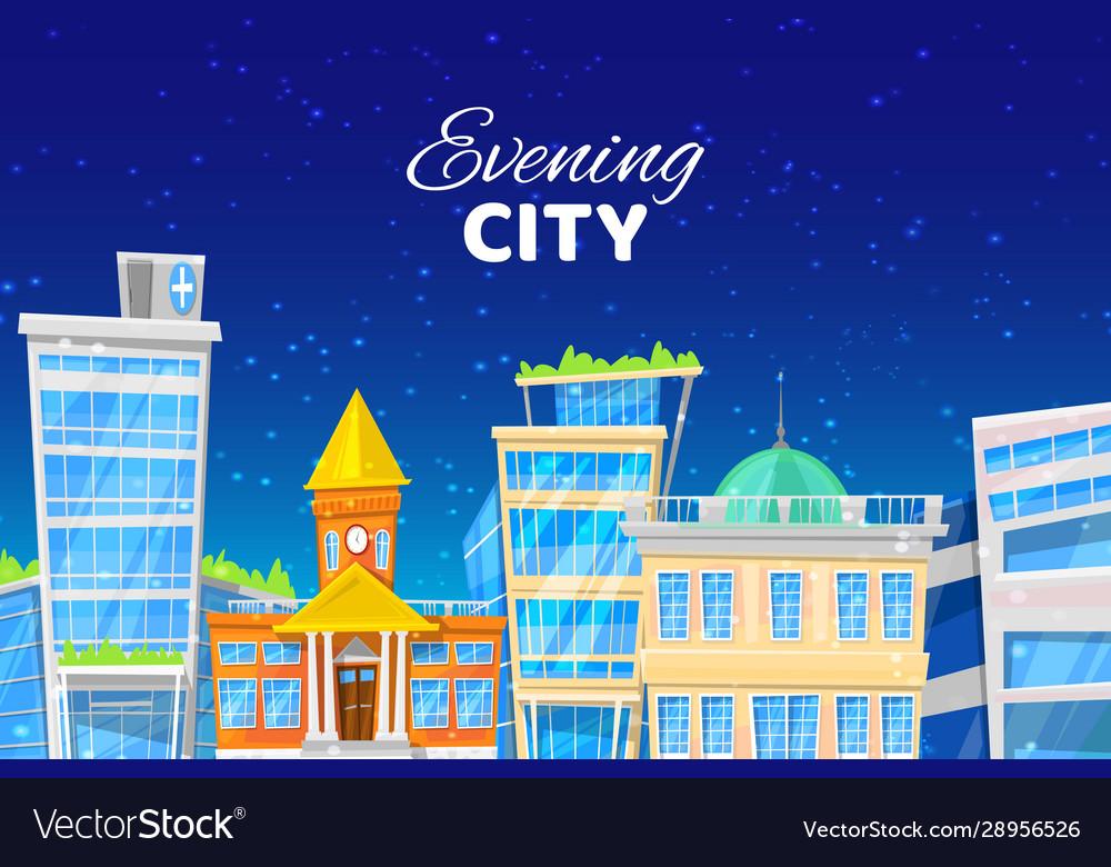 Evening city cartoon with blue