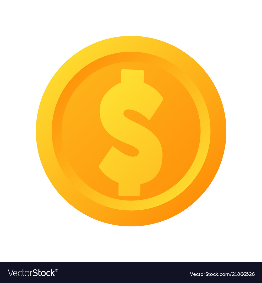 Flat gold dollar coin icon isolated
