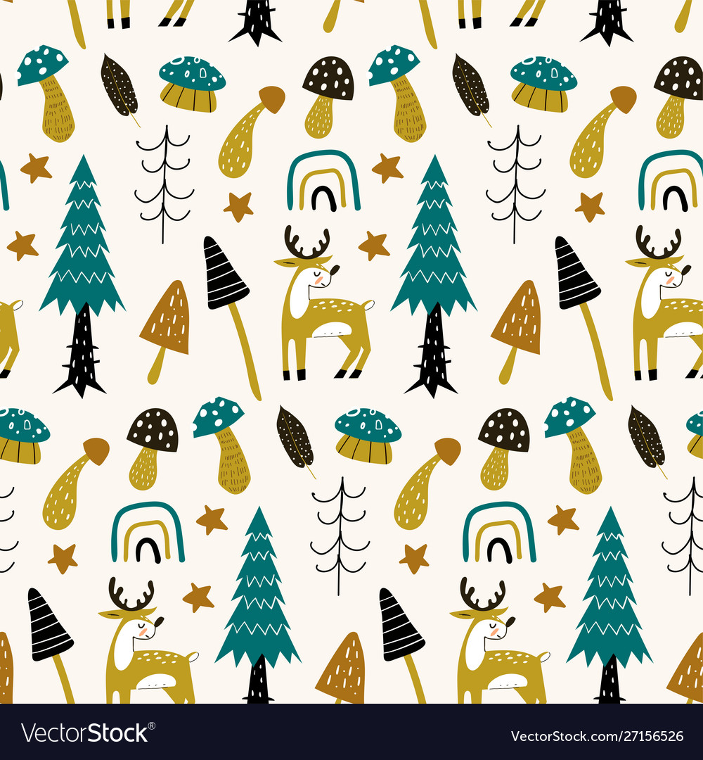 Forest seamless pattern with cute animals deer