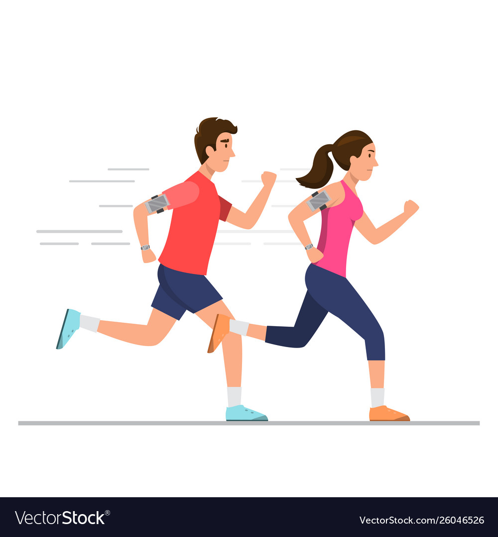 Happy Man And Woman Running On Way