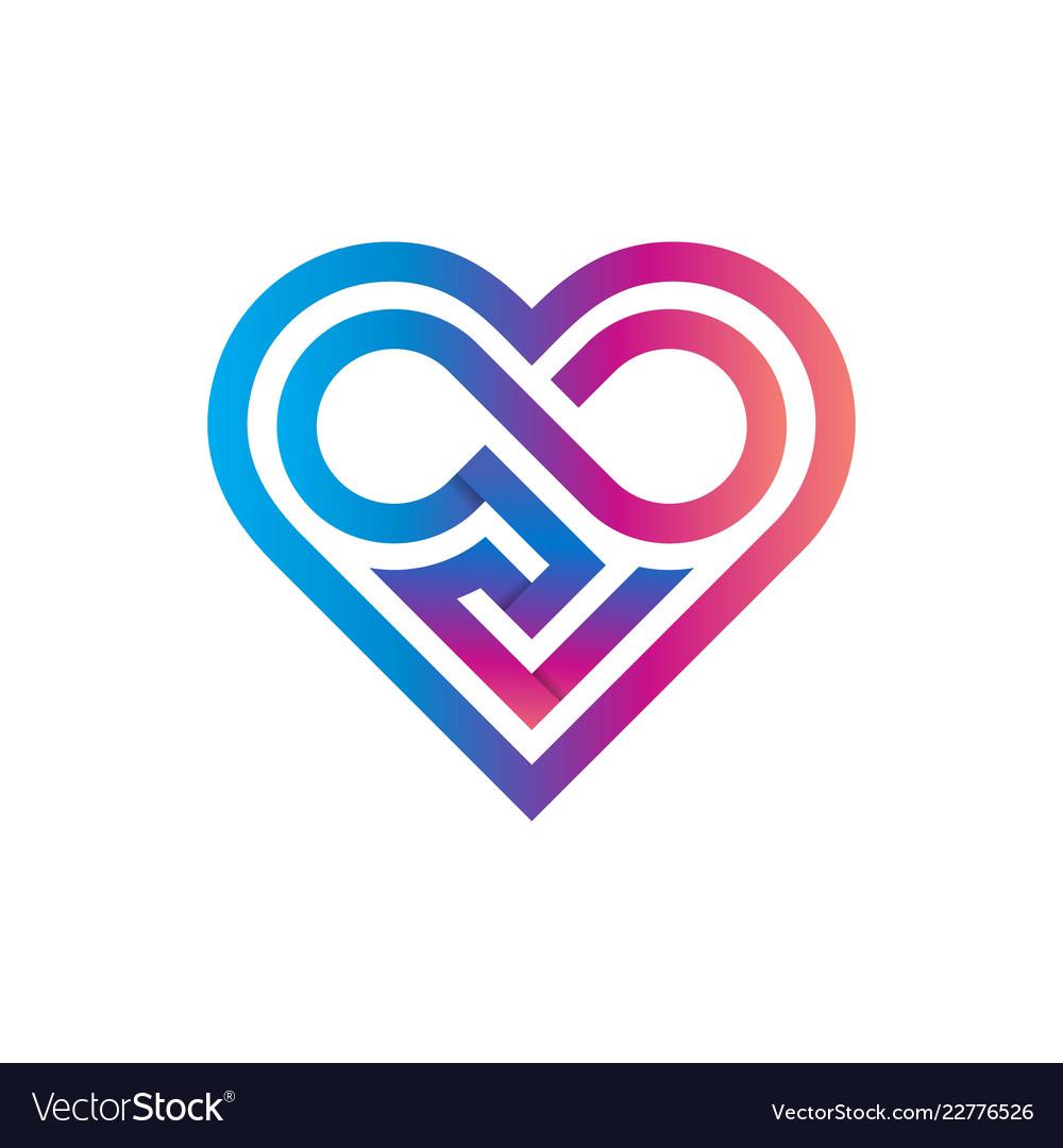 Heart classic geometric logo template