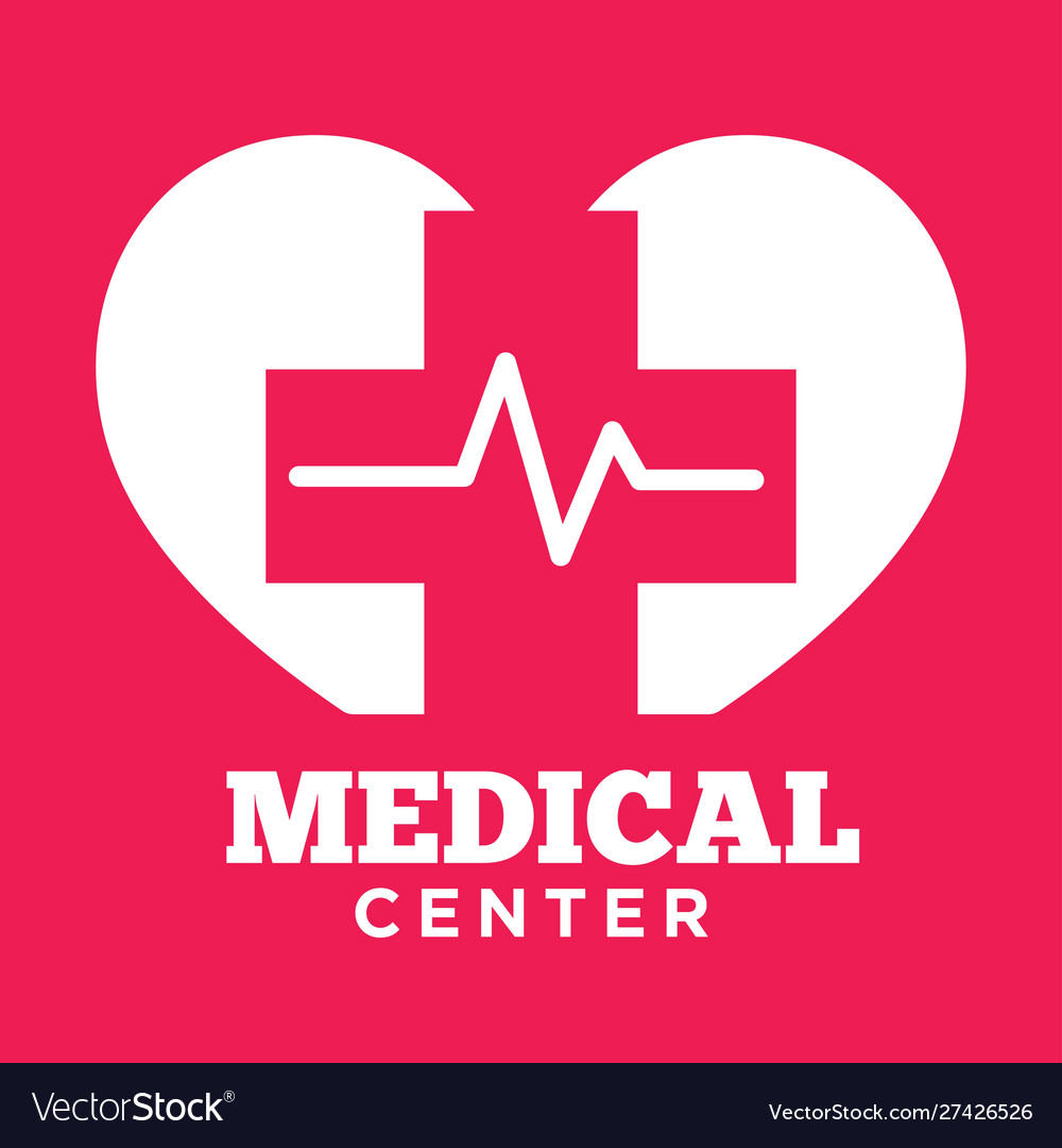 Medical center red and white graphic logo with