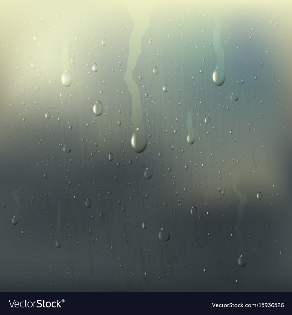 Misted wet glass drops realistic composition